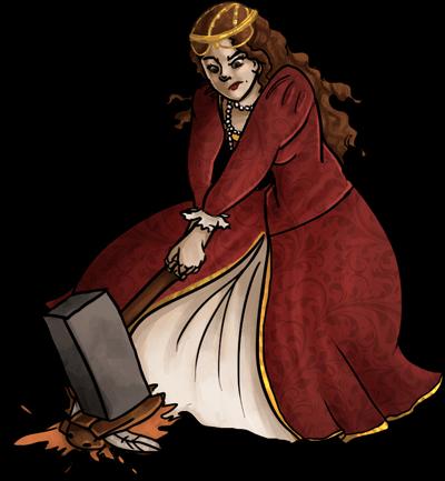 Kim, in her royal garb, smashing a bug