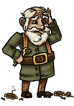 A flustered gnome, clutching his tools and surrounded by gears and other components.