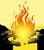 A lit campfire