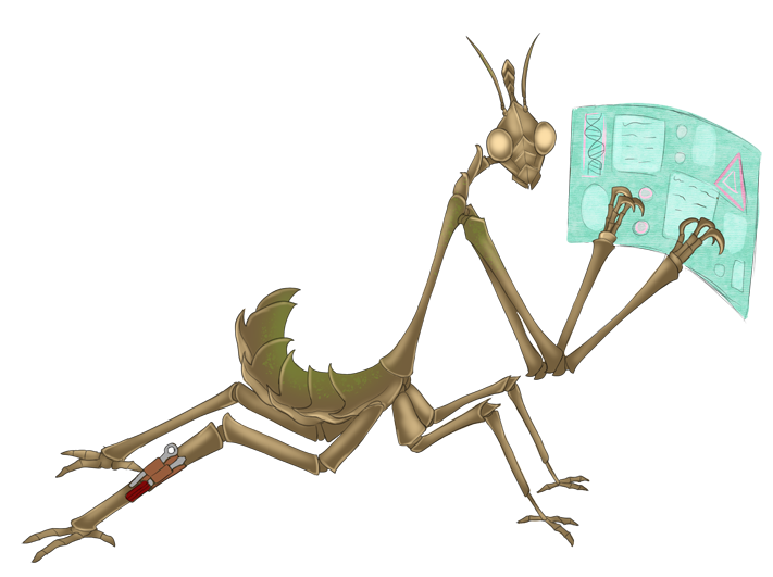 A mantis-like alien, working at a holo-terminal.