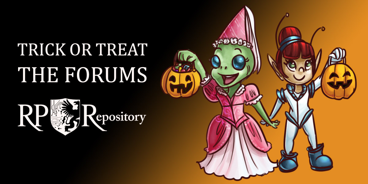 A young alien with green skin, dressed in a princess costume, and a young elven girl, dressed in a space invader costume, hold up their orange jack-o-lantern containers full of treats.