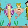 Wakumi and her best mermaid pals: Petra, Kaminari and Amethyst