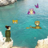 Wakumi hanging out on the beach with her mermaid friends (photomanipulation - base is one of my own photos)