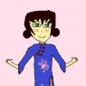 Wakumi wearing a Chinese dress
