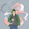 An unsuspecting Tatsuo with a techno creep named Jitterbug. Drawn by my friend, Sansji!